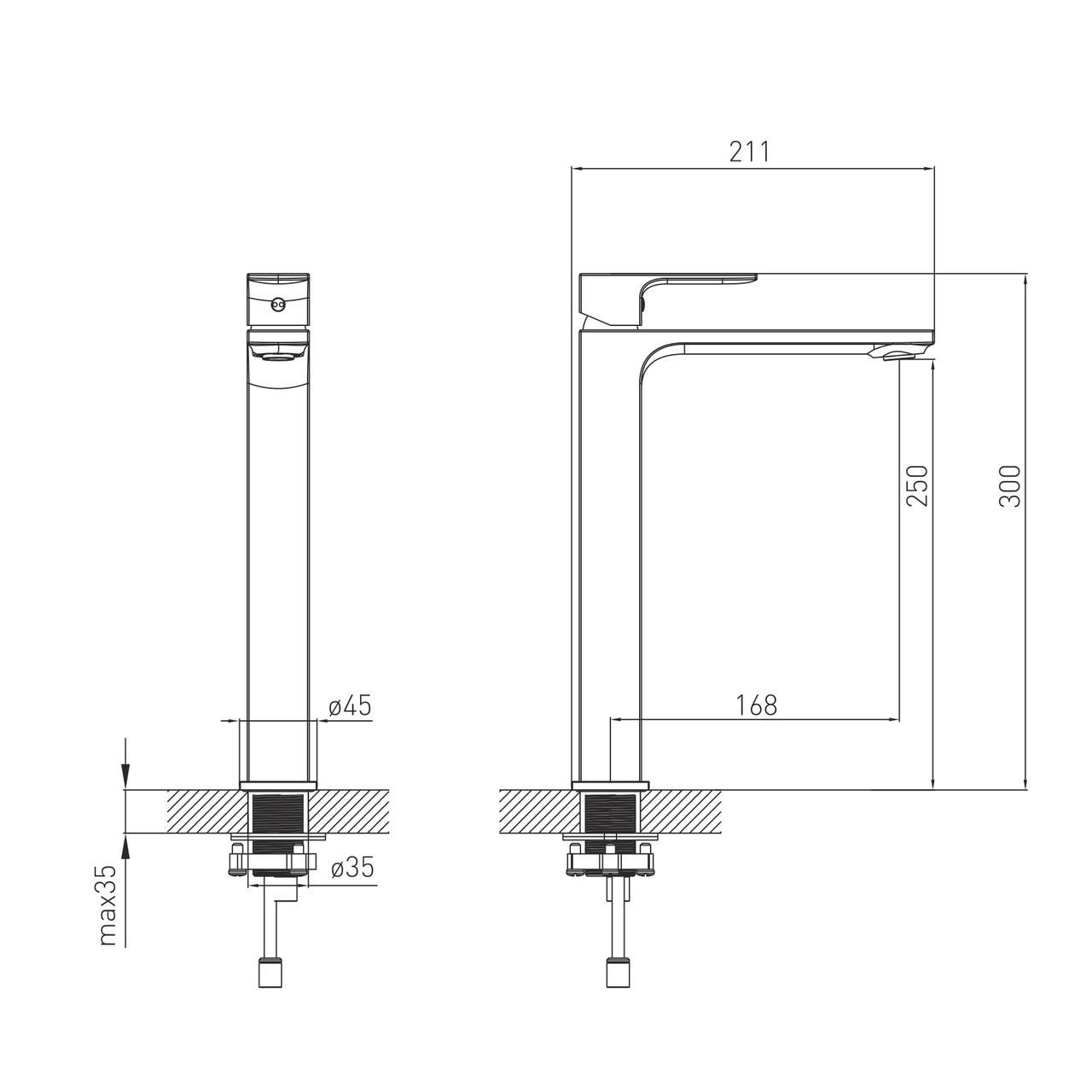 LEON смеситель для умывальника высокий, хром, 26 мм