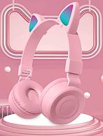 Беспроводные Bluetooth наушники со светящимися кошачьими ушками Cat Ear BK-38M Розовые