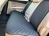 Накидки для авто з перфорованої екошкіри, Чорні с синьою стрічкою, Стандарт, Полный комплект, фото 2