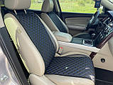 Накидки для авто з перфорованої екошкіри, Чорні с синьою стрічкою, Стандарт, Полный комплект, фото 4
