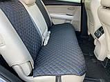 Накидки для авто з перфорованої екошкіри, Чорні с синьою стрічкою, Стандарт, Полный комплект, фото 5