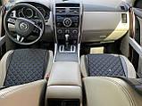 Накидки для авто з перфорованої екошкіри, Чорні с синьою стрічкою, Стандарт, Полный комплект, фото 6
