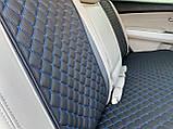 Накидки для авто з перфорованої екошкіри, Чорні с синьою стрічкою, Стандарт, Полный комплект, фото 8