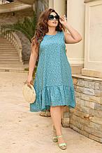Жіноче плаття літнє Коттон Розмір 48 50 52 54 56 58 60 62 64 66 В наявності 5 кольорів