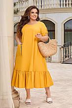 Лляне жіноча сукня вільного крою Розмір 48 50 52 54 56 58 60 62 64 66 В наявності 7 кольорів