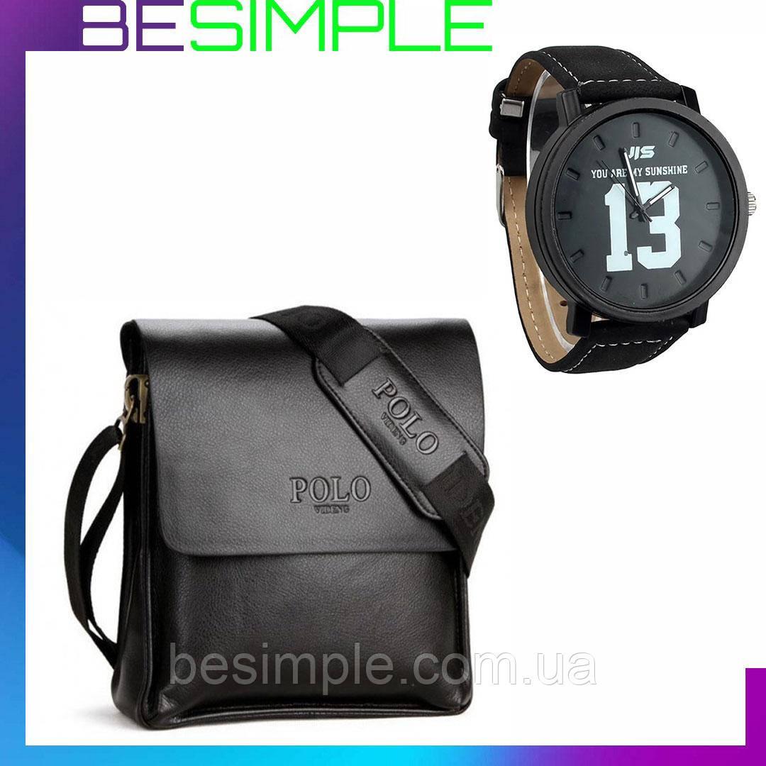 Мужская сумка Polo Videng / Кожаная сумка через плечо + Подарок Мужские наручные часы