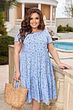 Жіноче літнє плаття Штапель Розмір 48 50 52 54 56 58 60 62 64 66 В наявності 3 кольори, фото 2