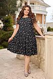 Жіноче літнє плаття Штапель Розмір 48 50 52 54 56 58 60 62 64 66 В наявності 3 кольори, фото 5