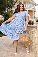 Жіноче літнє плаття Штапель Розмір 48 50 52 54 56 58 60 62 64 66 В наявності 3 кольори