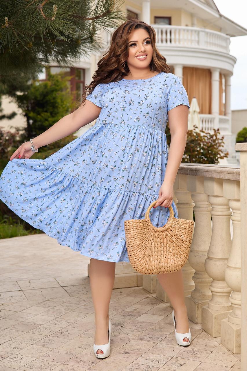 Женское летнее платье Штапель  Размер 48 50 52 54 56 58 60 62 64 66 В наличии 3 цвета