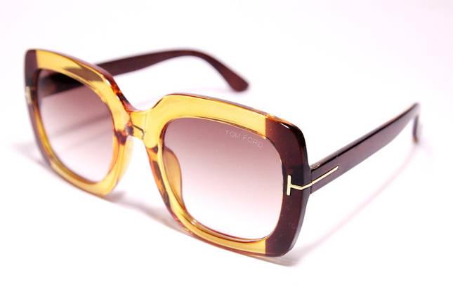 Женские солнцезащитные квадратные очки Том Форд 03 C2 реплика Коричневые с градиентом, фото 2