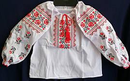 Вышиванка детская для девочки с длинным рукавом из натуральной ткани 98-116 см  Бело-красная
