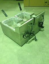 Подвійна електрична фритюрниця з краном зливу JEF-8+8K Rauder (КНР), фото 2
