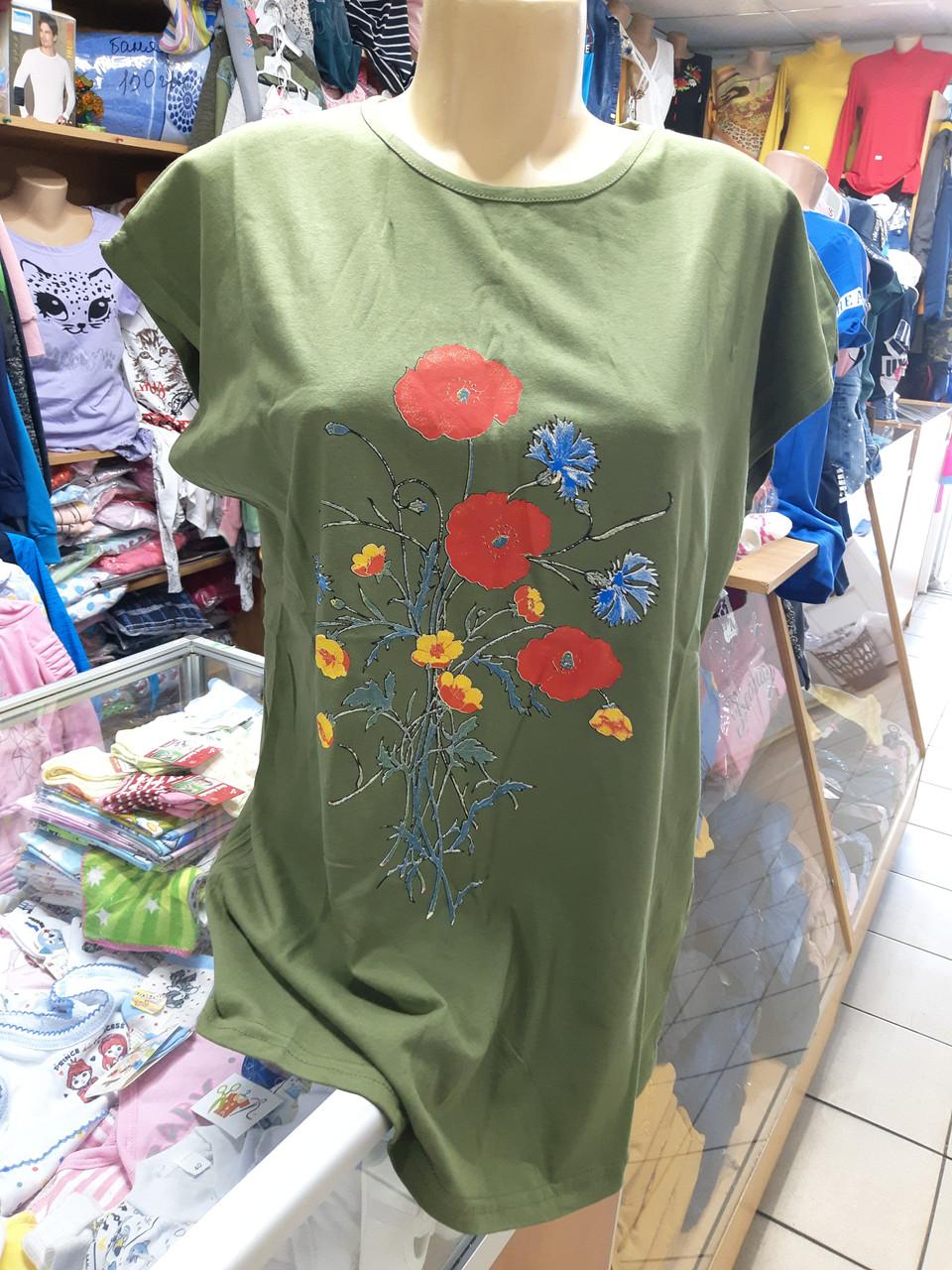 Жіноча літня футболка великі розміри 52 54