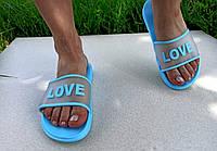 Женские Голубые Шлепанцы резиновые Love, фото 1