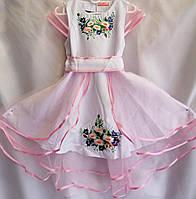 Платье вышитое для девочки с коротким рукавом из натуральной ткани 110-140 см  Белое с розовым