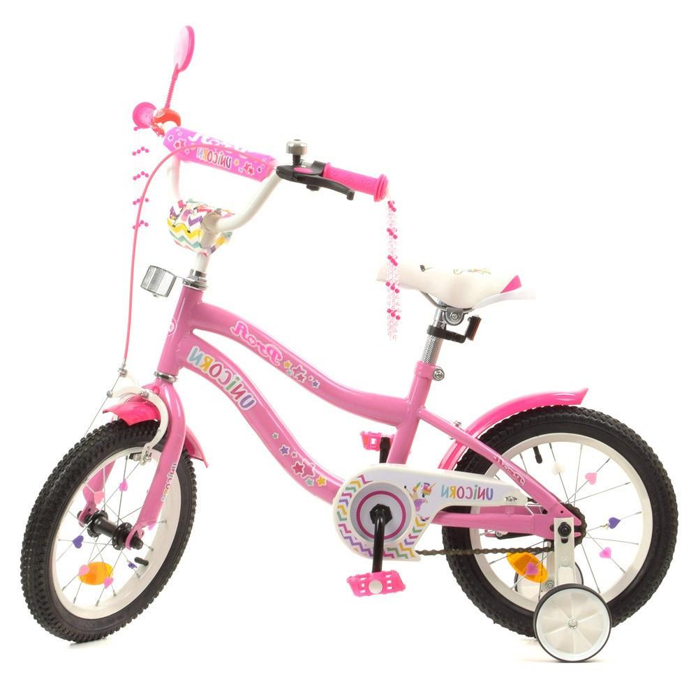 Влосіпед двоколісний для дітей 3-6 років, колеса 14 дюймів, сталева рама, дзеркало, доп колеса, PROF1 Y14241-1