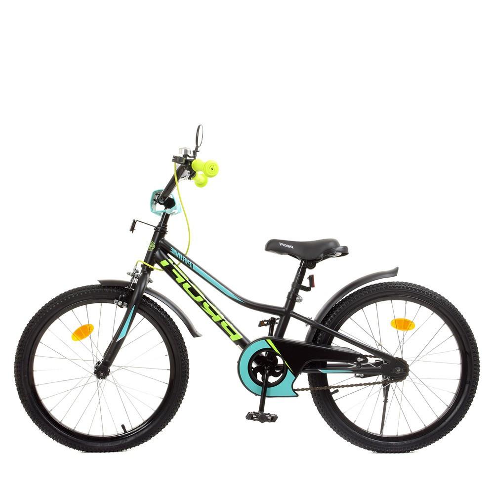 Влосипед двухколесный для детей 7-10 лет, колеса 20 дюймов, стальная рама, подножка, фонарь, PROF1 Y20224-1