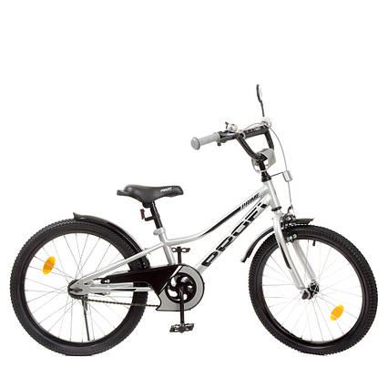 Влосипед двухколесный для детей 7-10 лет, колеса 20 дюймов, стальная рама, подножка, фонарь, PROF1 Y20222