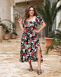 Платье миди Красные цветы 05521,18