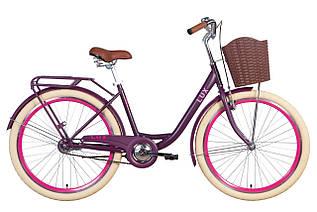 """Велосипед міський жіночий 26"""" Dorozhnik Lux 2021 рама 17"""" сливовий"""
