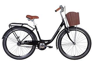 """Велосипед міський жіночий 26"""" Dorozhnik Lux 2021 рама 17"""" чорний"""