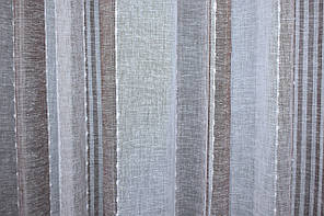 Отрез (2,4х2,7м.) ткани, остаток с рулона. Лён вертикальные полосы, цвет белый с кофейным. Код 673ту 00-575