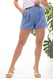 Жіночі блакитні білі короткі лляні шорти