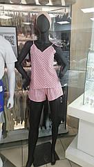 Піжама жіноча майка та шорти льон, в смужку. XS. S. M. L.