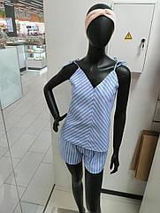 Піжама жіноча майка та шорти льон, блакитного кольору. XS. S. M.