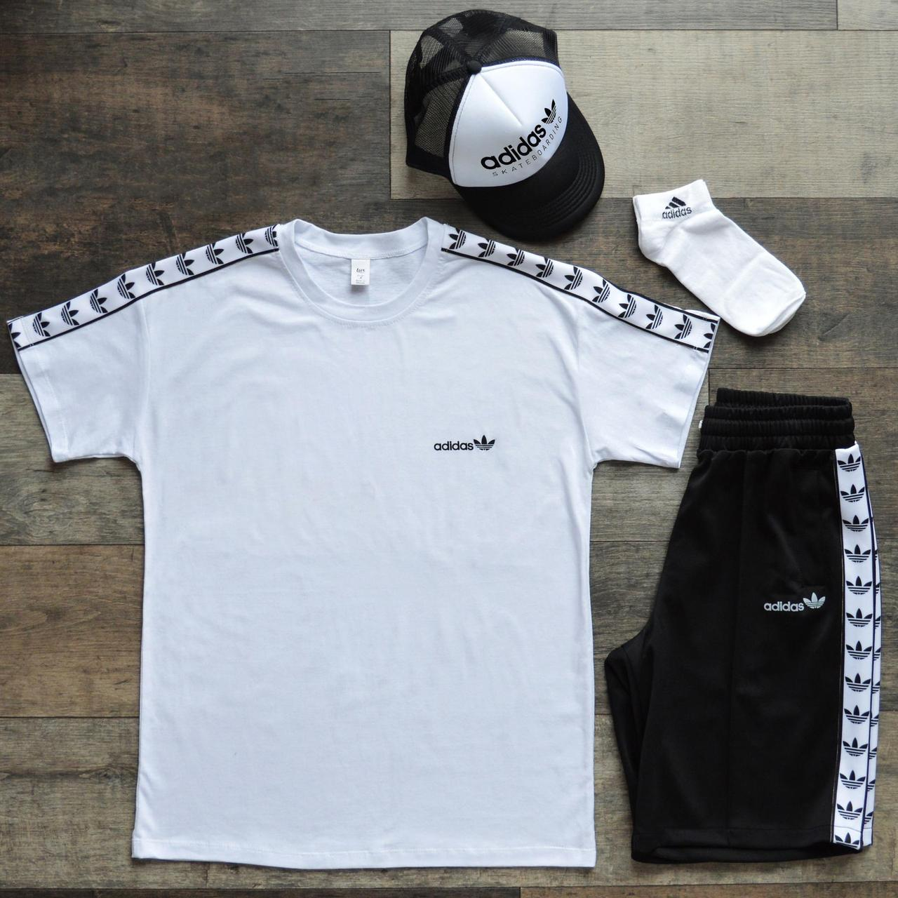 Костюм мужской Adidas 4в1 (футболка, шорты,кепка,носки). Летний комплект Адидас Оридж черно-белый (4 позиции).