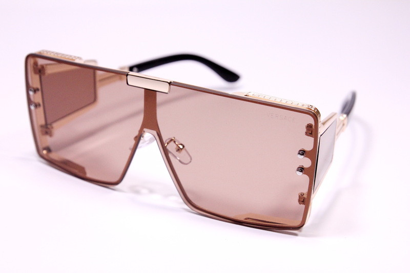 Женские солнцезащитные очки маска Версаче 17318 C4 реплика Коричневые