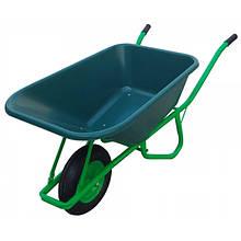 Тачка садово-господарська 100 л, 1 колесо, пластикове корито, VERANO