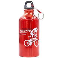 Бутылка для воды алюминиевая спортивная с карабином SP-Planeta 400 мл 370-01 SPORTS (цвета в ассортименте) Красный