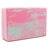 Блок для йоги мультиколор Record FI-5164 (EVA, р-р 23х15х7,5см, рожевий)