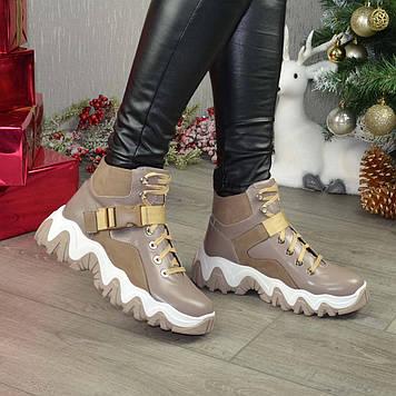 Ботинки женские на шнуровке, спортивного стиля, цвет визон/бежевый. 39 размер