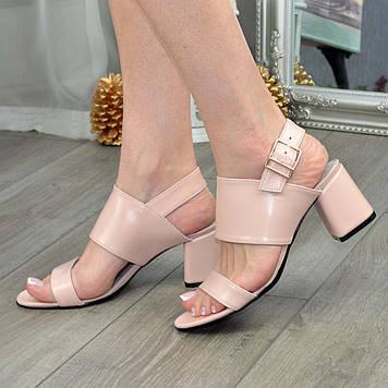 Босоножки женские кожаные на устойчивом каблуке, цвет пудра. 39 размер