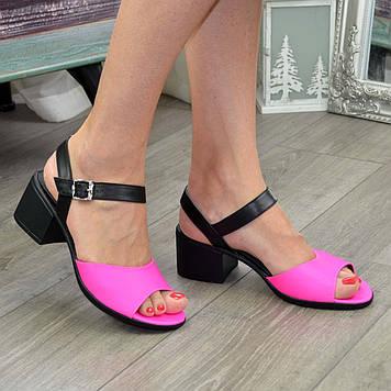 Босоножки кожаные женские на устойчивом каблуке, цвет фуксия/черный. 39 размер