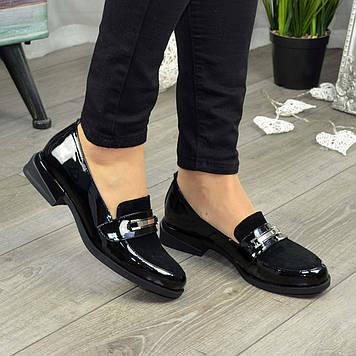 Туфли женские комбинированные на низком ходу, цвет черный. 36 размер
