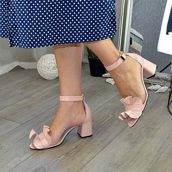 Босоножки женские кожаные на устойчивом каблуке. Цвет пудра. 39 размер