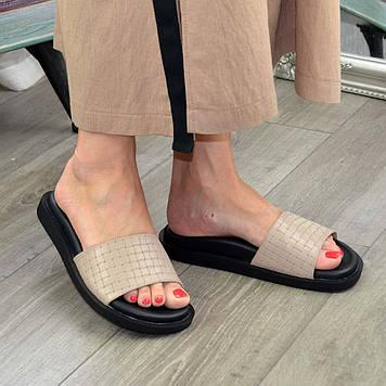 Шлепанцы женские кожаные. Цвет визон. 39 размер