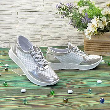 Стильные кожаные кроссовки, цвет серебро/белый. 38 размер