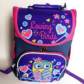 Каркасный рюкзак-короб с ортопедической спинкой для девочки, Сова