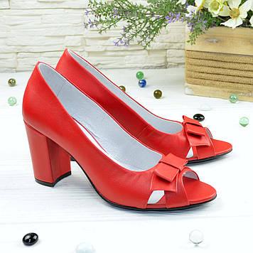 Туфли кожаные женские с открытым носком, цвет красный. 38 размер