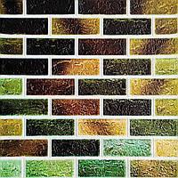 Самоклеюча декоративна 3D панель під цеглу зелений мікс 700х770х5мм