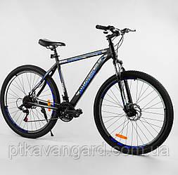 """Спортивный велосипед для взрослых 29 дюймов Синий 21 скорость Corso Aviator рама стальная 20"""" собран на 75%"""