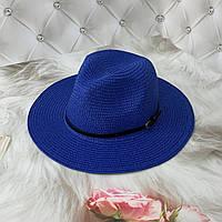 Летняя шляпа Федора с ремешком унисекс синяя (электрик), фото 1