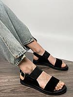 Жіночі шкіряні босоніжки чорного кольору. Розміри 36-41, фото 1