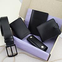 Подарунковий набір чоловічий №24: Ремінь + портмоне + ключниця + обкладинка на паспорт + на права (чорний), фото 1