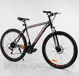 """Спортивный велосипед для взрослых 29 дюймов Черный 21 скорость Corso Aviator рама стальная 20"""" собран на 75%"""